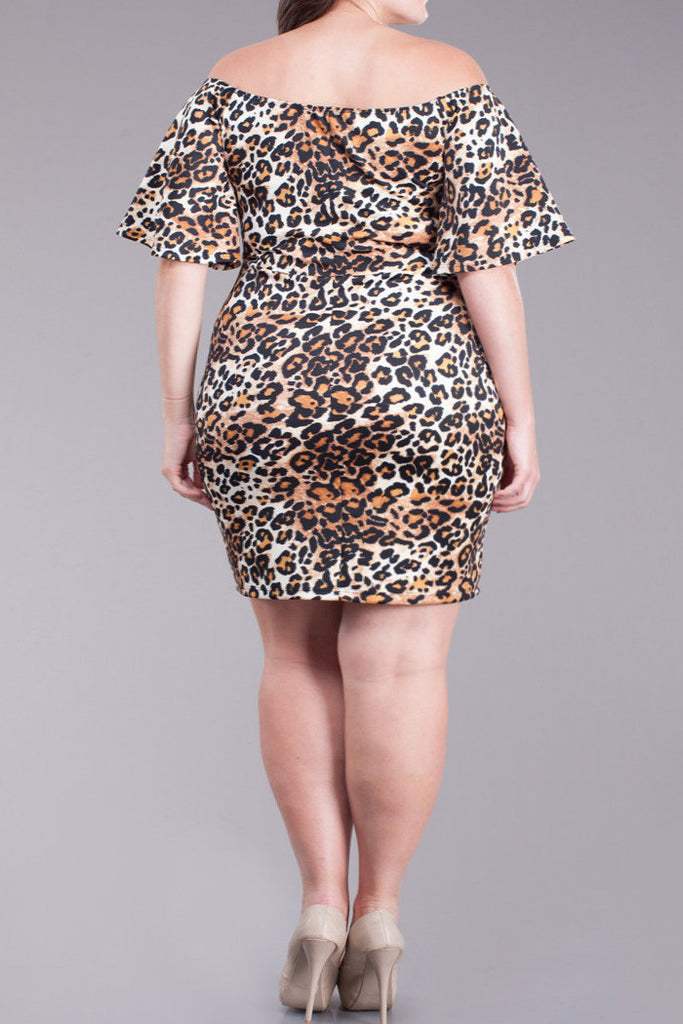 Lovely Cheetah Print Off Shoulder Plus Size Dress