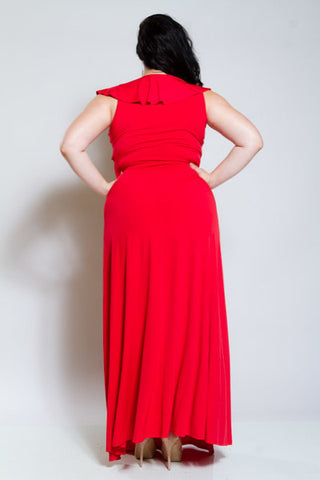 Plus Size Sexy Ruffled Front Maxi Dress [SALE]