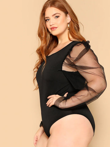 Plus Size Mesh Sleeve Form Fitted Bodysuit