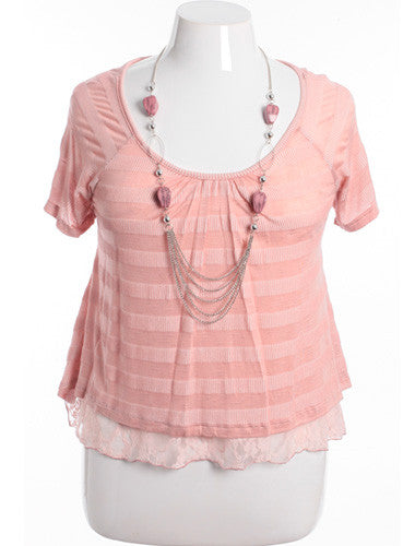 Plus Size Lace Layered Stripe Rose Blouse