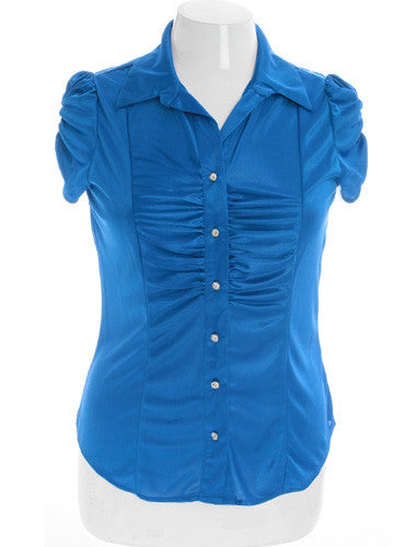 Plus Size Silky Scrunch Diamond Button Blue Top