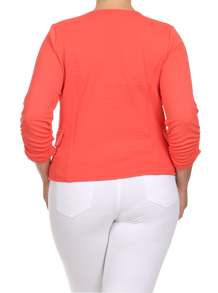 Plus Size City Nights Ribbed Coral Jacket