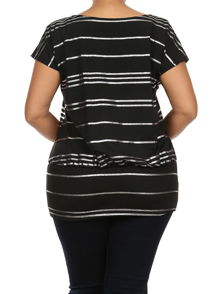 Plus Size Silver Foil Striped Drop Waist Black Top