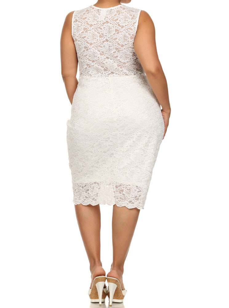 Plus Size See Through Floral Lace White Dress