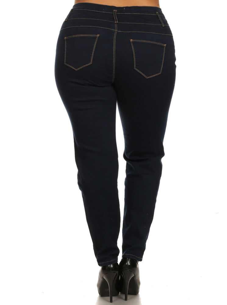 Plus Size Three Button High Waist Navy Blue Denim Jeans