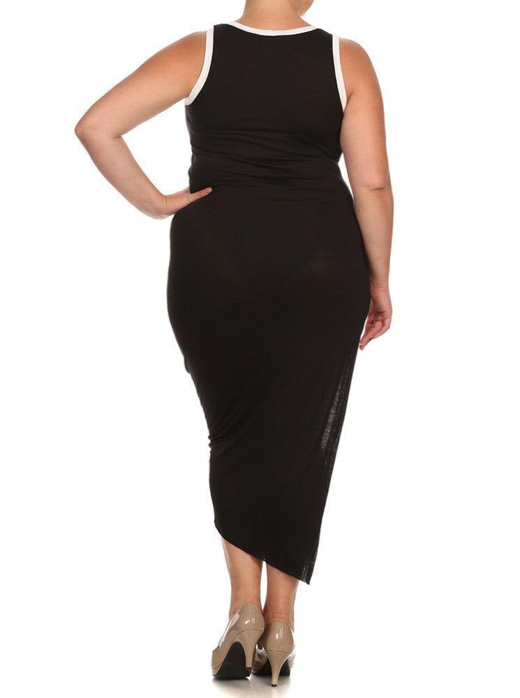 Plus Size Stylish Knit Uneven Hem Midi Dress