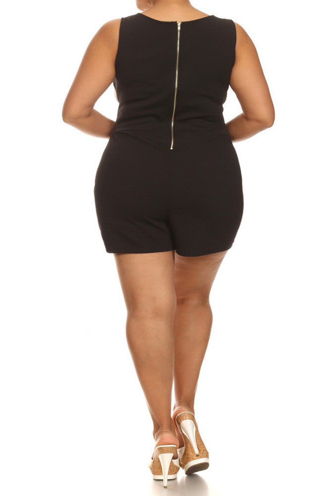 Plus Size Mod White Color Block Romper