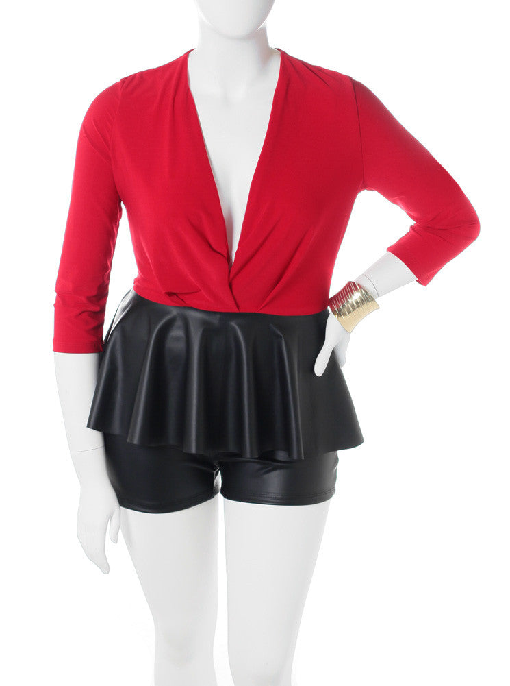 Plus Size Peplum Leather Red Romper