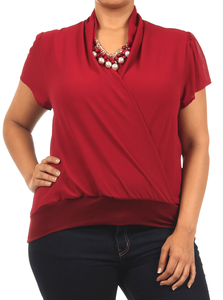 Plus Size Jewelry Semi Sheer Burgundy Blouse