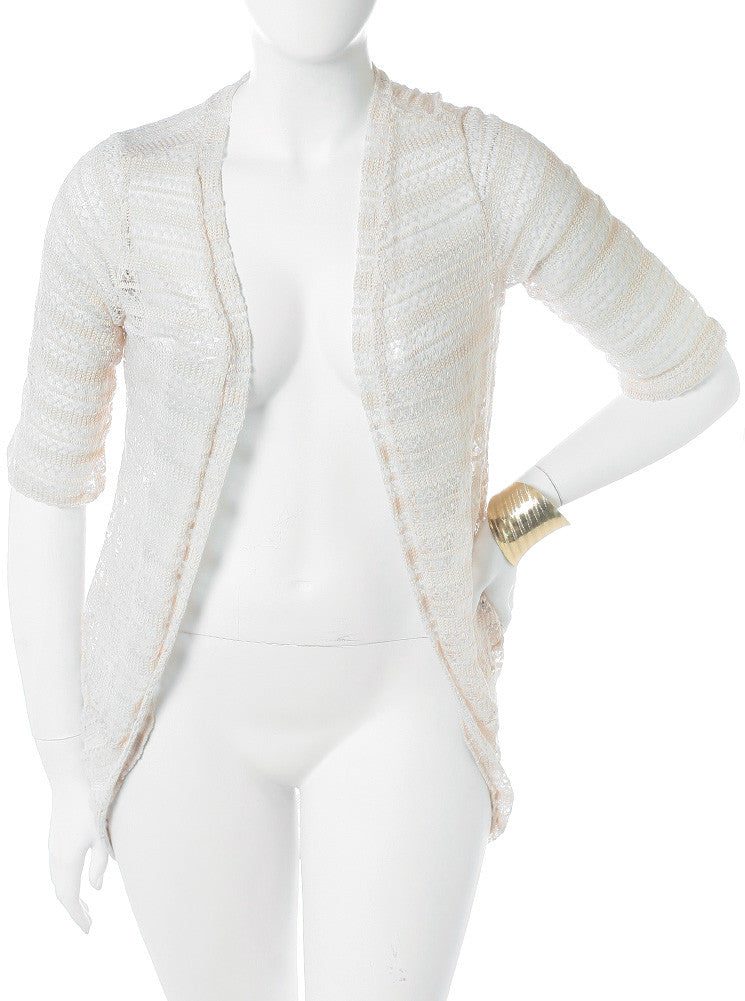 Plus Size Knitted Open Front Cream Cardigan