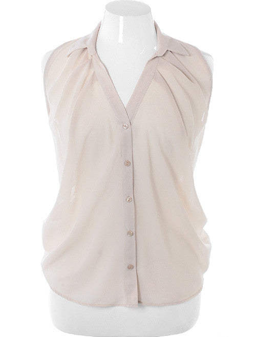 Plus Size Sexy Shear Pleated Tan Button Top
