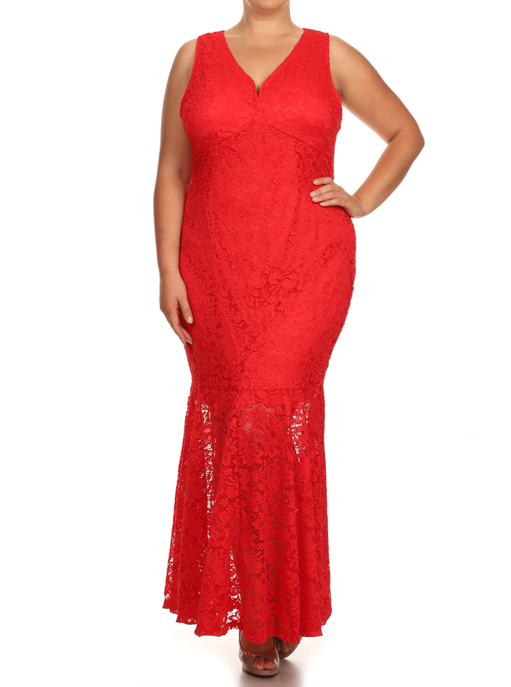 db69b4a7a5 Plus Size Pretty In Floral Crochet Mermaid Maxi Red Dress – Plussizefix