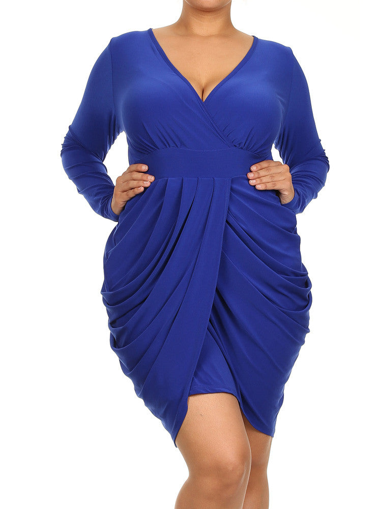 Plus Size Long Sleeve V Neck Bubble Blue Dress