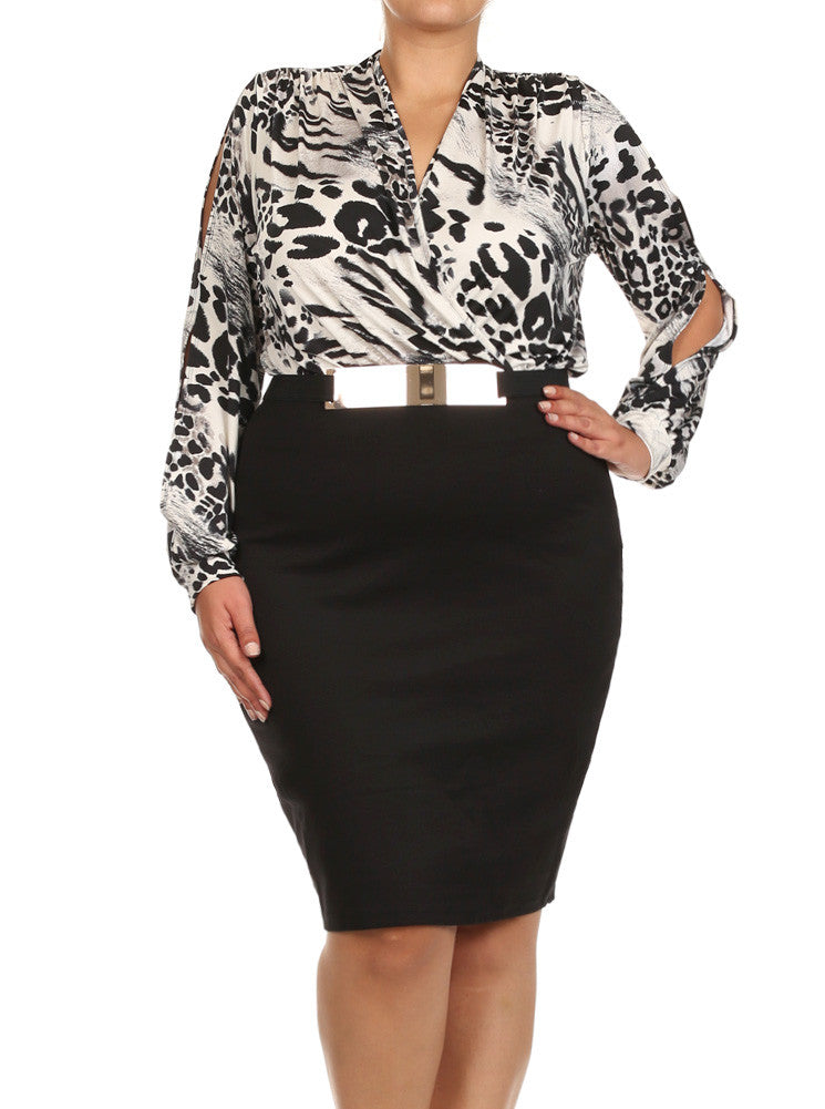 Plus Size Leopard Cut Out Sleeves Belted Dress