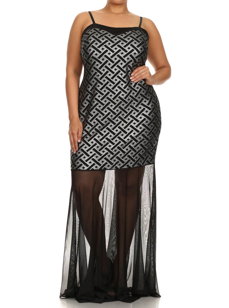 Plus Size Silver Liquid Shine Mermaid Mesh Maxi Dress