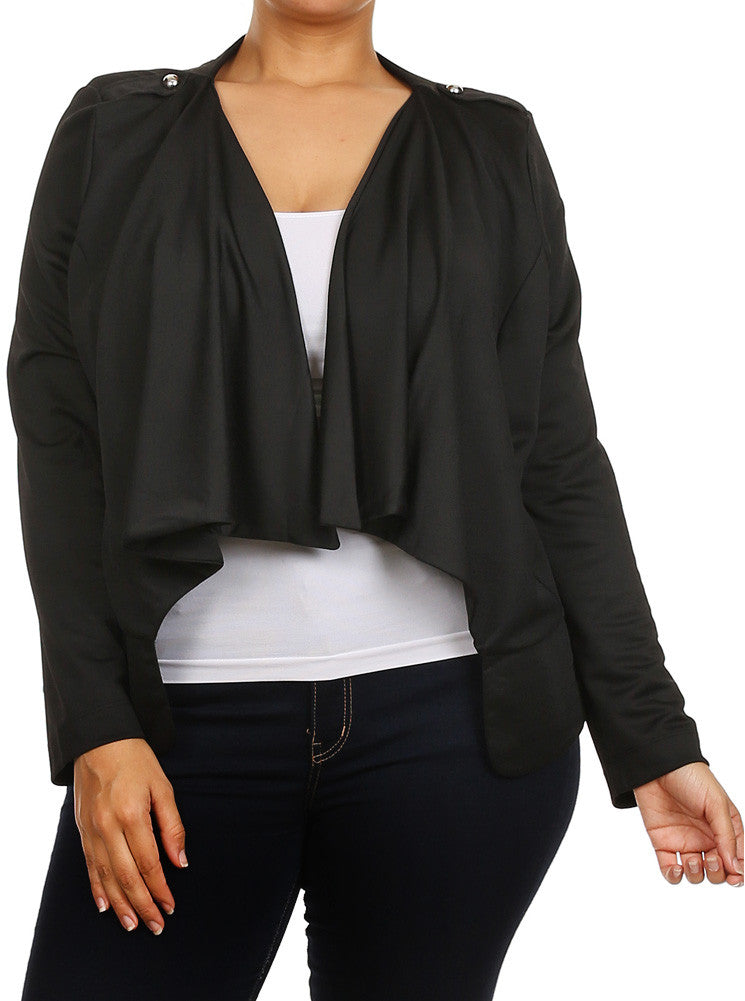 Plus Size Fabulous Slick Open Front Blazer