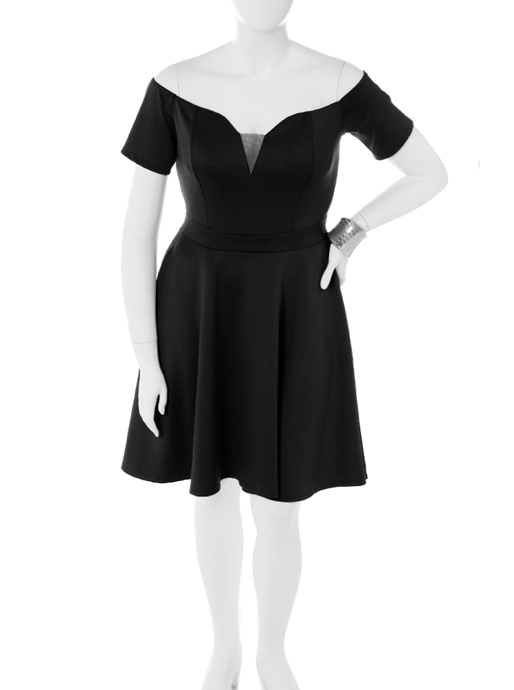 Plus Size True Romance Black Skater Dress