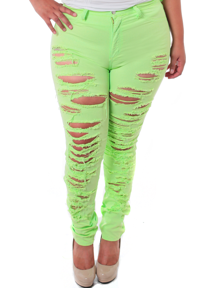 Plus Size High Waist Slashed Lime Green Jeans