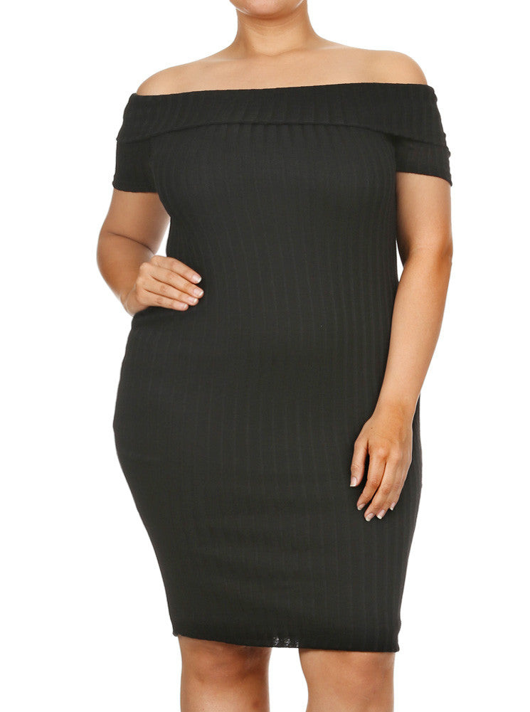 Plus Size Ribbed Knit Off The Shoulder Midi Black Dress