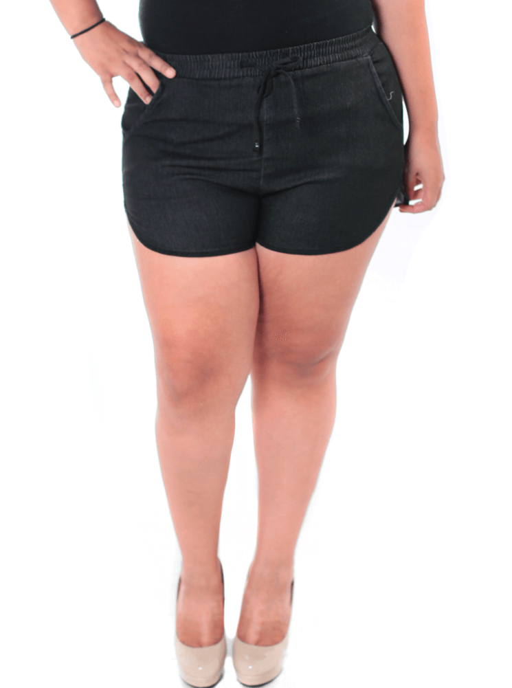 Plus Size Summer Chambray Black Denim Shorts