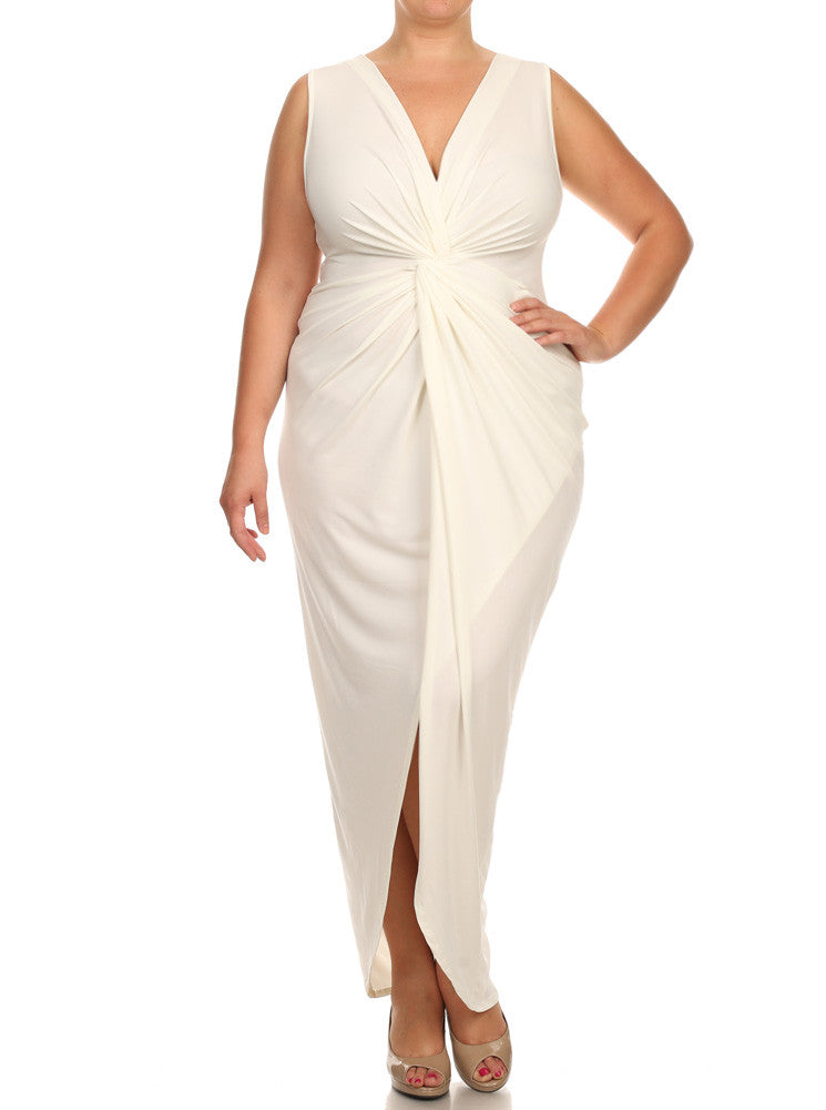 Plus Size Luring Knot Front White Maxi Dress