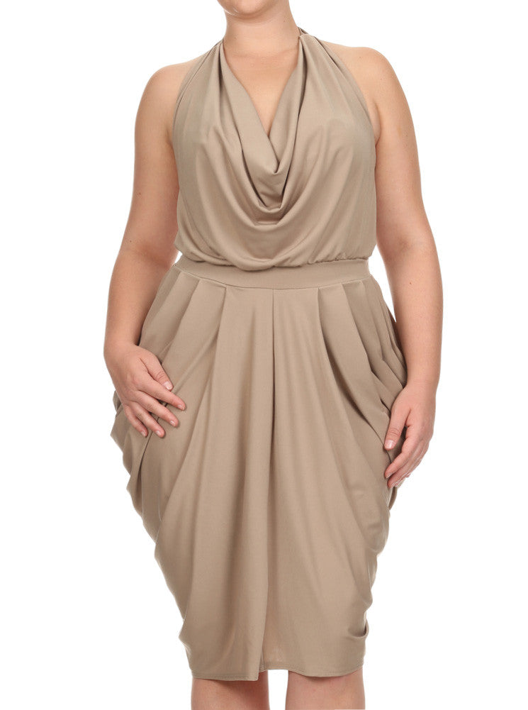 Plus Size Halter Cowl Neck V Hem Tan Dress