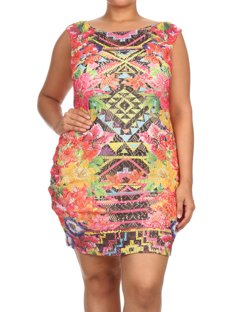 Plus Size Hawaiian Flower Knit See Through Dress