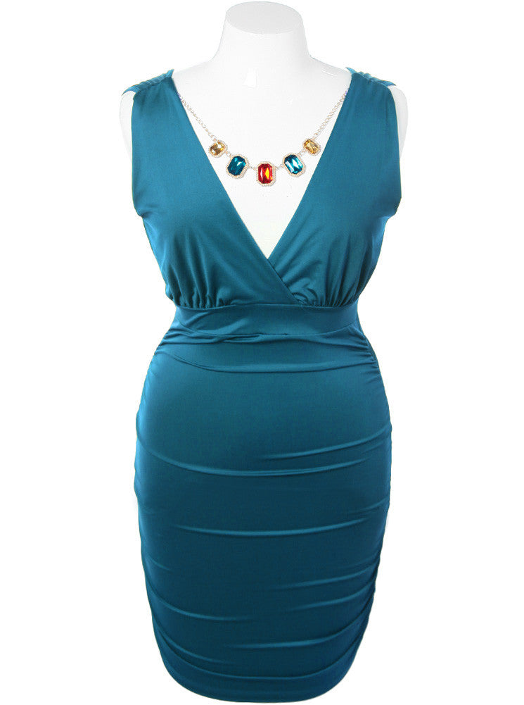 Plus Size Gem Necklace Teal Cocktail Dress
