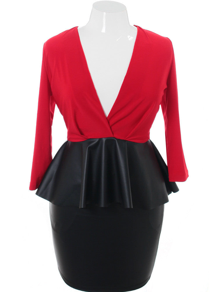 Plus Size Leather Peplum Midi Red Dress