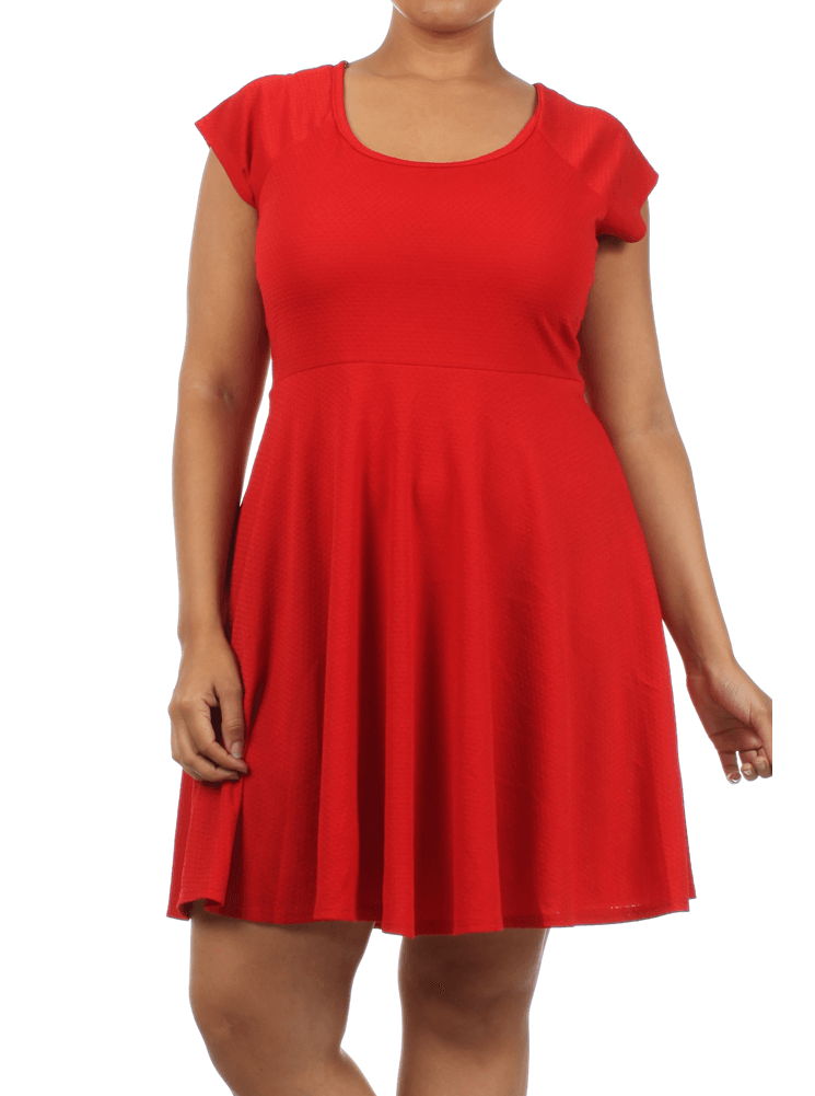 Plus Size Lively Crossed Back Skater Red Dress