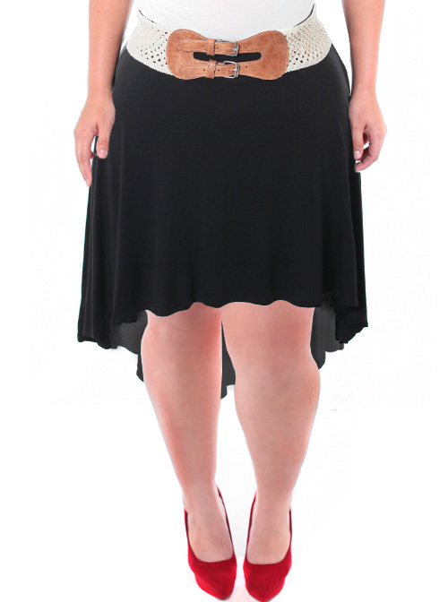 Plus Size Belted Dip Hem Black Skirt