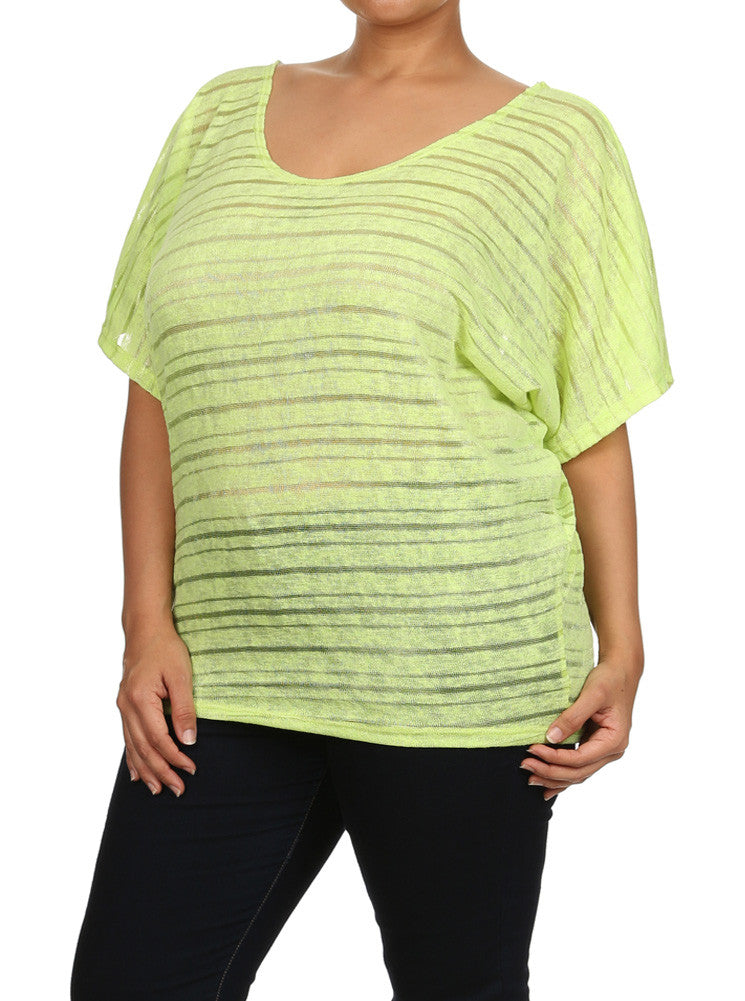 Plus Size Peep Through Striped Knit Neon Green Top