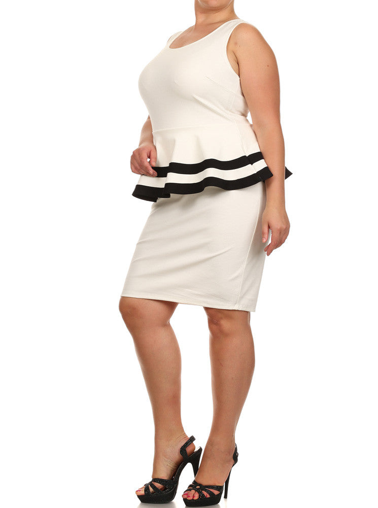 Plus Size Lovely Colorblock Peplum White Dress