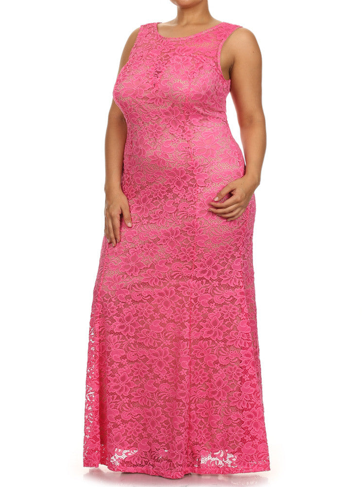 Plus Size Spring Flower Mermaid Pink Maxi Dress