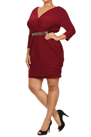 Alluring Surplice Belted Ruched Plus Size Dress