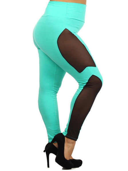 Plus Size High Waist Mesh Teal Leggings