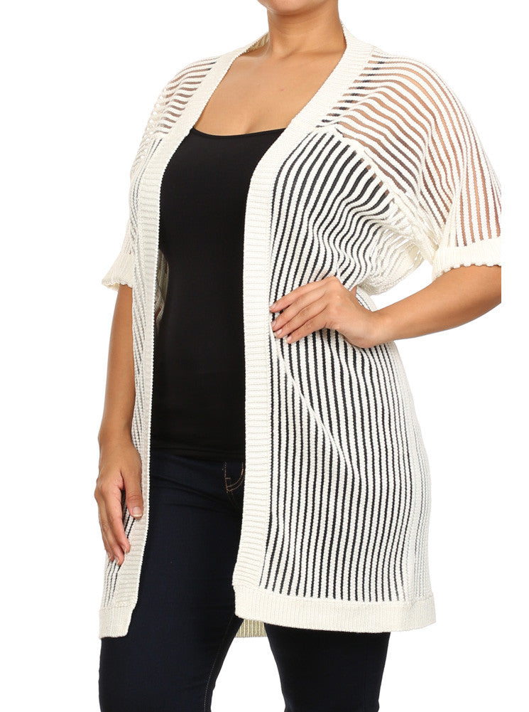 Plus Size Chic Knitted Open Front White Net Cardigan