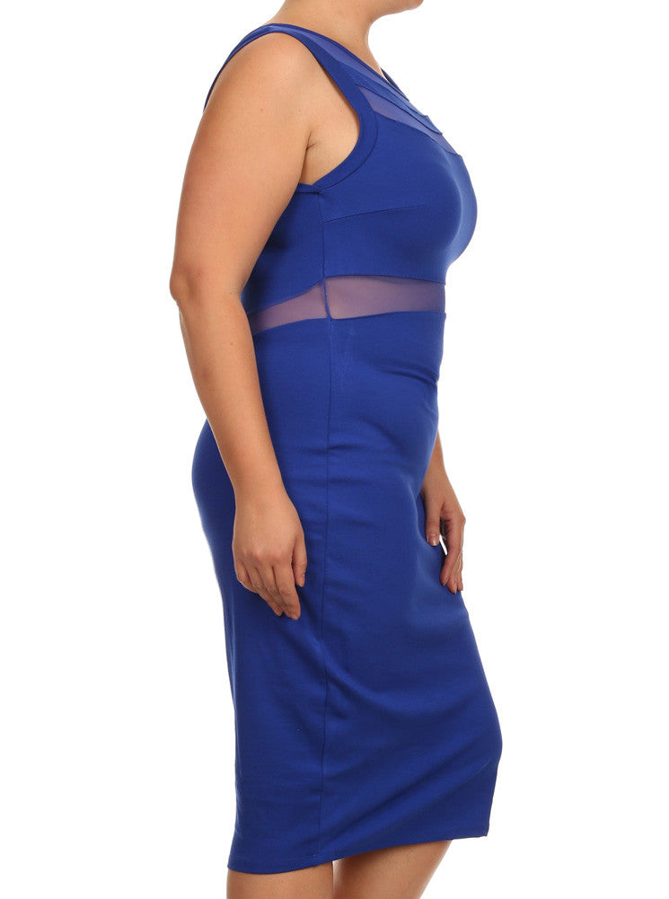Plus Size Sexy Scuba Mesh Blue Midi Dress