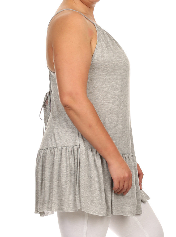 Plus Size Drop Waist Criss Cross Back Grey Top