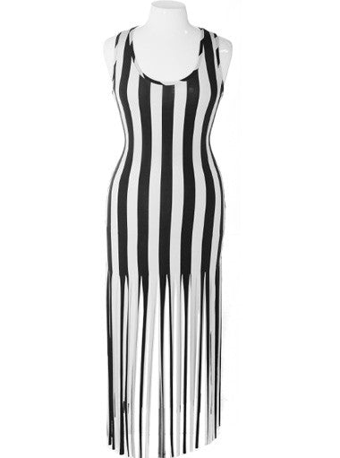 Plus Size Bold Stripe Fringe Hem Black Dress