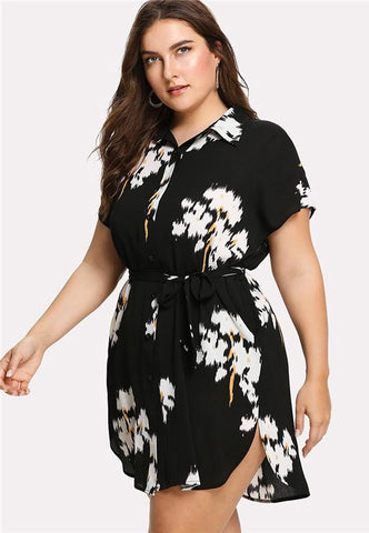 Plus Size Elegant Floral Shirt Dress