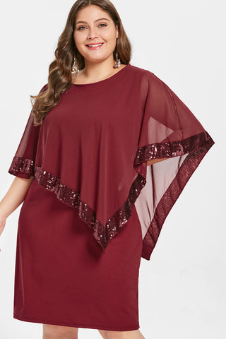 Plus Size Sparkling Sequin Overlay Cloak Sleeves Dress