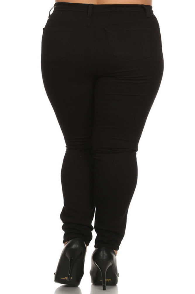Plus Size High Waist Slashed Black Denim Jeans