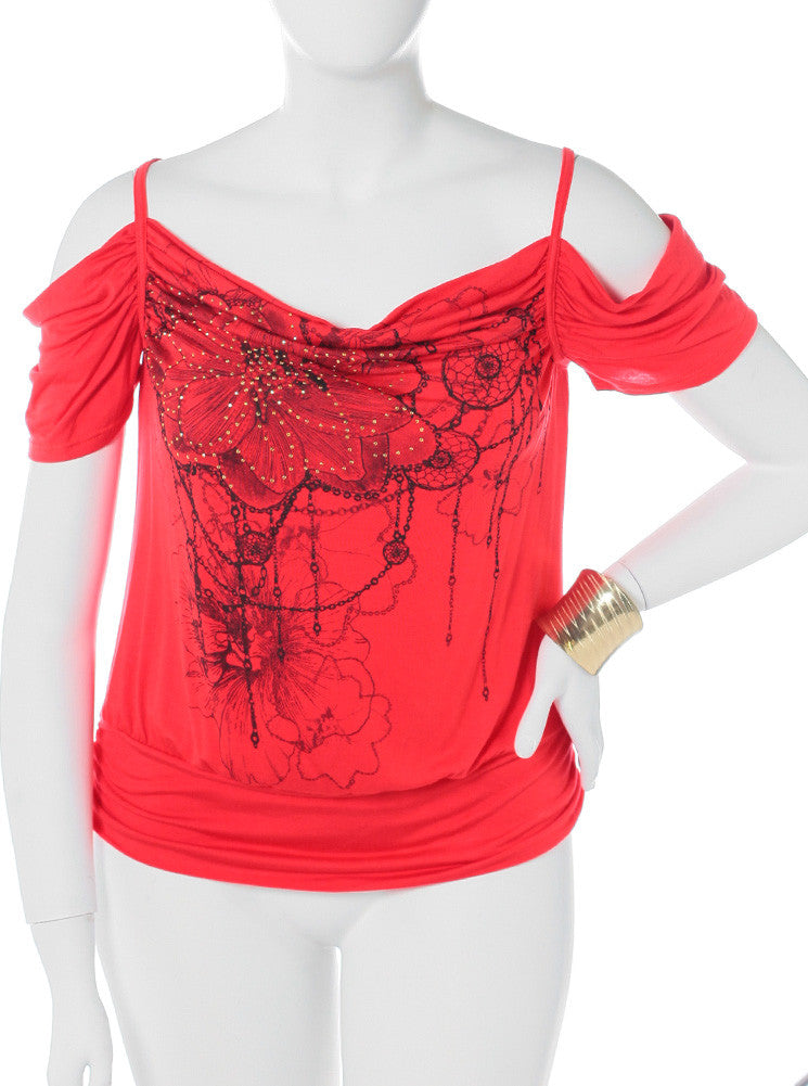 Plus Size Open Shoulder Dazzled Coral Top