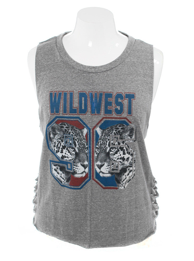 Plus Size Wild West Cut Out Jersey Grey Top