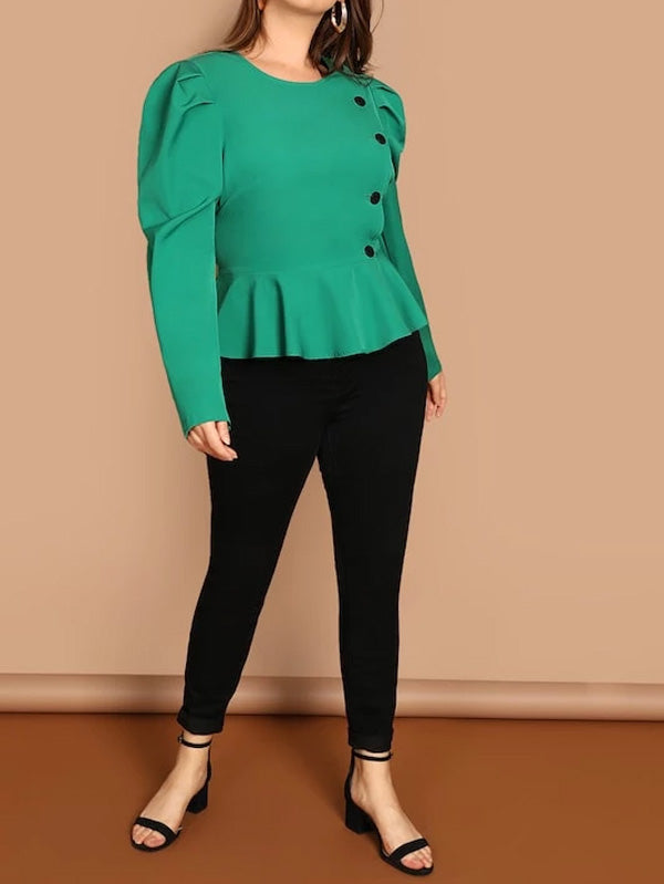 Plus Button Detail Puff Sleeve Peplum Jacket