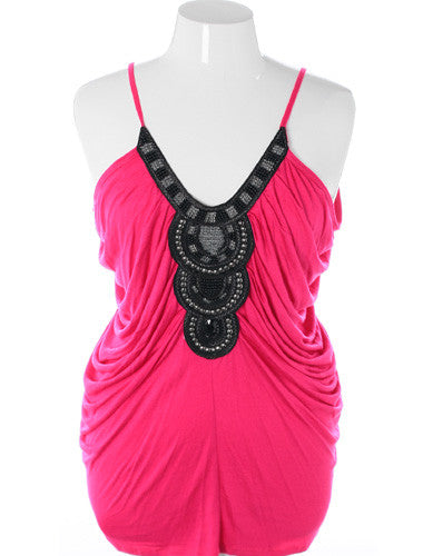 Plus Size Sexy Flowing Beaded Aztec Pink Tank