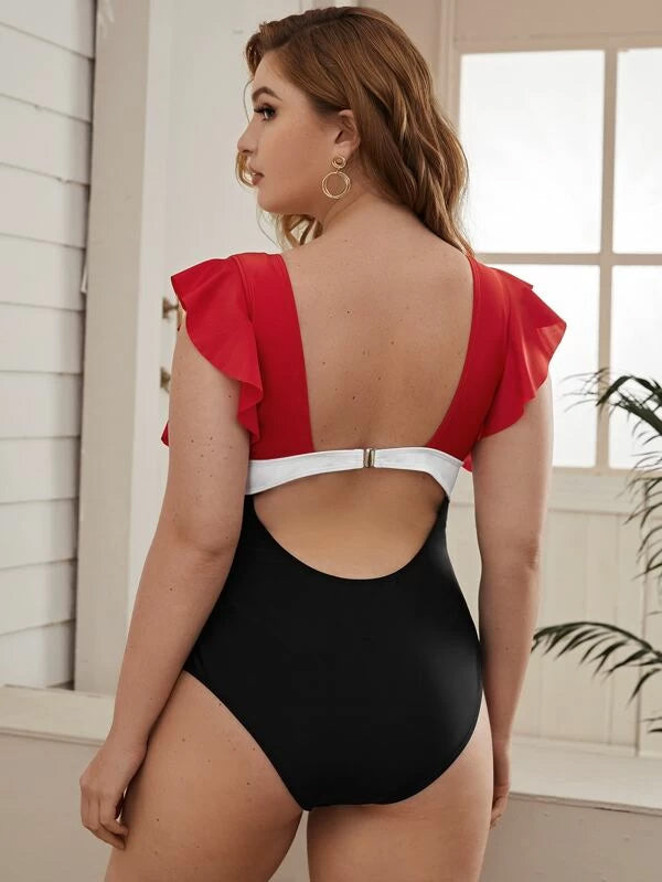 Plus Size Colorblock Ruffle Trim One Piece Swimwear