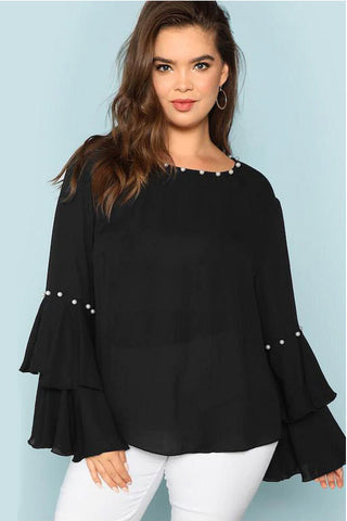 Plus Size Embellished Layered Ruffle Sleeve Blouse Top