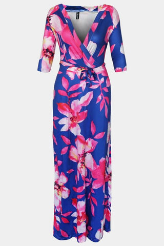 Plus Size Vibrant Surplice Self-Tie Ribbon Patchwork Maxi Dress